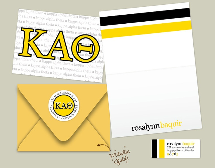 The ultimate sorority girl stationary pack! Comes with folded personalized Theta note cards, mailing envelopes, and return address labels! Practical AND cute...does it get any better!! Enjoy, sis! ~ <3 , Erin