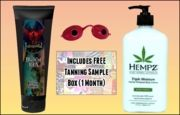 Everything you need for a great tan!  You get the following top selling essential items:   -Immoral BlackOut 100X 8.0 Oz Extreme Bronzing Emulsion Tanning Lotion (seen here: http://www.tan2day.com/blackout100x.html )  -Hempz Triple Whip Moisturizer 17.0 Oz. (seen here: http://www.tan2day.com/hetrwhmo.html )  -Tanning Goggles  -FREE Tanning Sample Box ($60 Salon Value) - Great to help you choose your next tanning product!  (seen here: http://www.tan2day.com/ulmotabox.html )