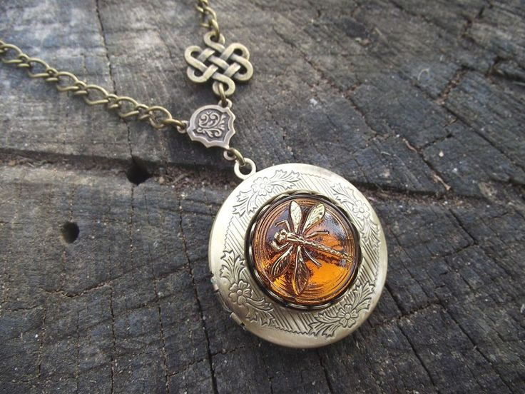 Celtic Knot Dragonfly in Amber Diana Gabaldon Outlander Series Locket Necklace #cinsationalbaubles #Locket