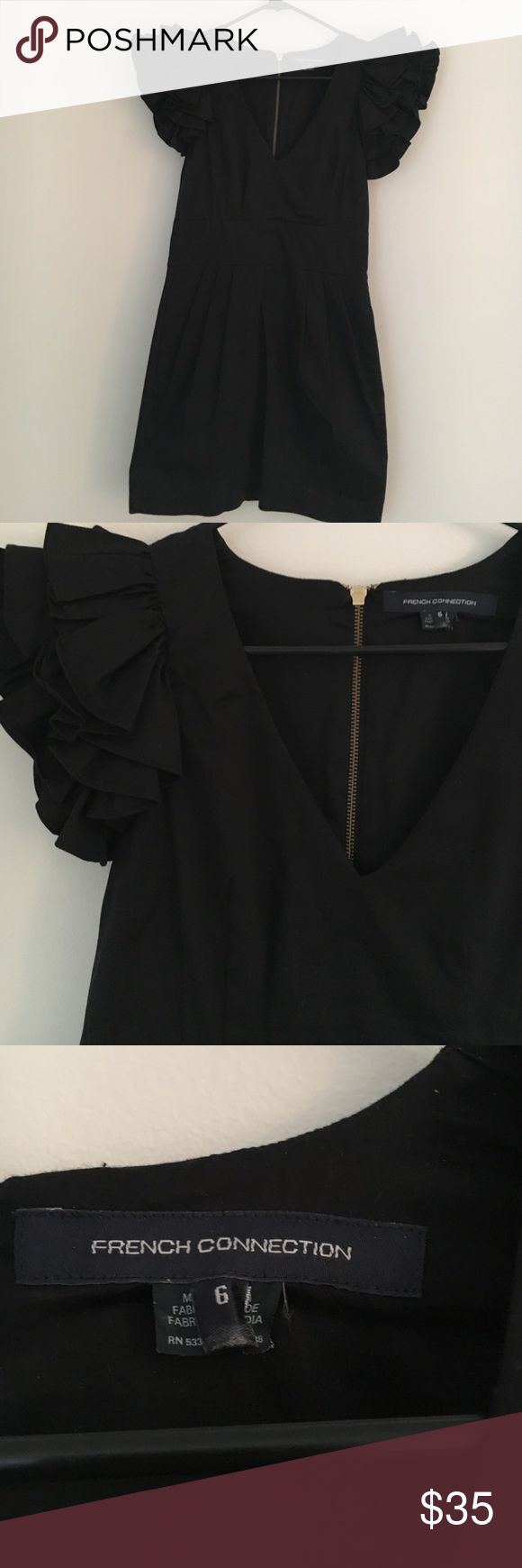 French Connection Black Ruffled Sleeve Dress Adorable little black dress. Great for a bachelorette party. Very light and comfortable. Fitted and flattering. French Connection Dresses Mini