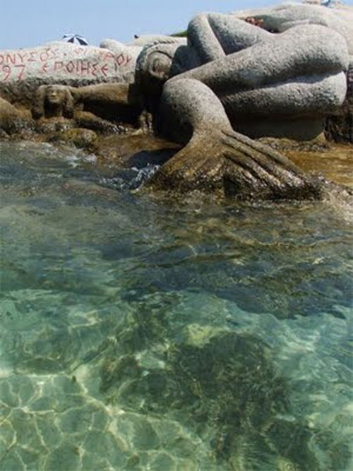 According to the greek myth the sister of Alexander the Great was a mermaid.  Sithonia-Macedonia