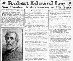 "A newspaper article about the death of ex-Confederate General Robert E. Lee, published in the Dallas Morning News (Dallas, Texas), 20 January 1907. Read more on the GenealogyBank blog: ""Remembering Robert E. Lee, John Denver & Wilt Chamberlain with Newspapers."" http://blog.genealogybank.com/remembering-robert-e-lee-john-denver-wilt-chamberlain-with-newspapers.html"