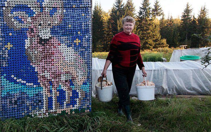 30,000 bottle caps decorate russian pensioner's home