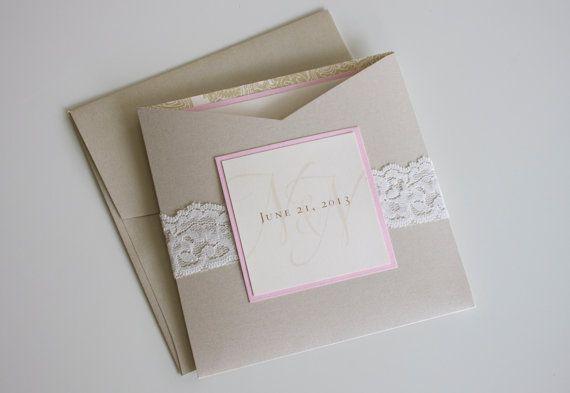 Lace Wedding Invitation, Natalie & Nathan: custom. lace. neutral. elegant. champagne. pink. ivory. metallic. pattern. paisley. pocket.