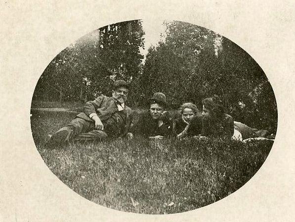 Antonín Dvořák having a picnic with his family.
