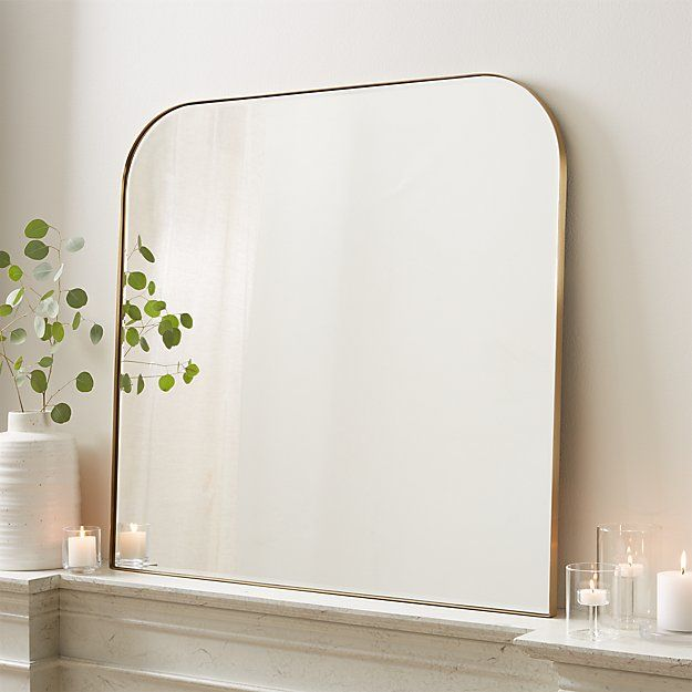 Edge Brass Minimalist Mirror Reviews Crate And Barrel In 2020 Minimalist Mirrors Mantle Mirror Mirror Wall
