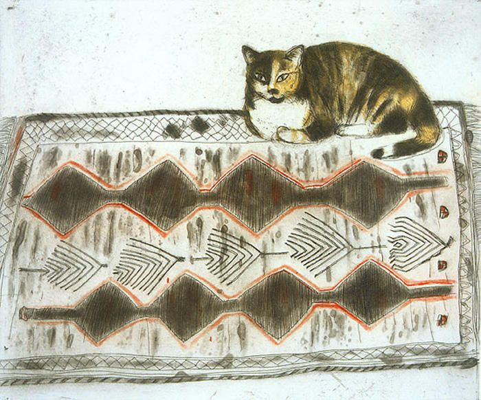 Kikko on a Rug, Coloured etching, Elizabeth Blackadder - The Scottish Gallery, Edinburgh - Contemporary Art Since 1842