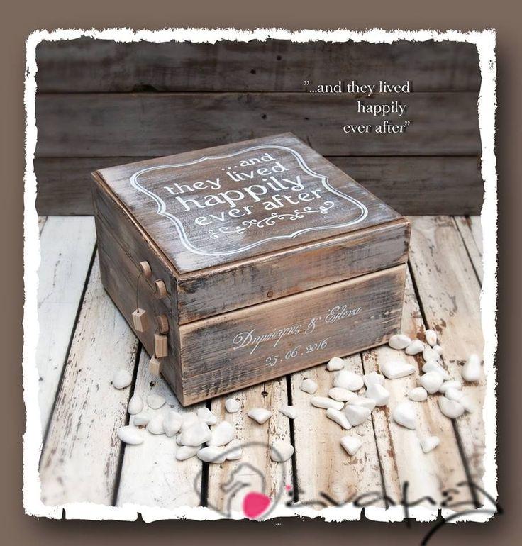 Ξύλινο χειροποίητο κουτί ευχών γάμου με το μήνυμα