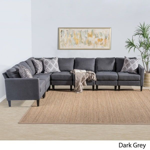 Zahra 7 Piece Fabric Sectional Sofa Set By Christopher Knight Home Grey Fabric Sectional Sofas Fabric Sectional Couch Sectional Sofa