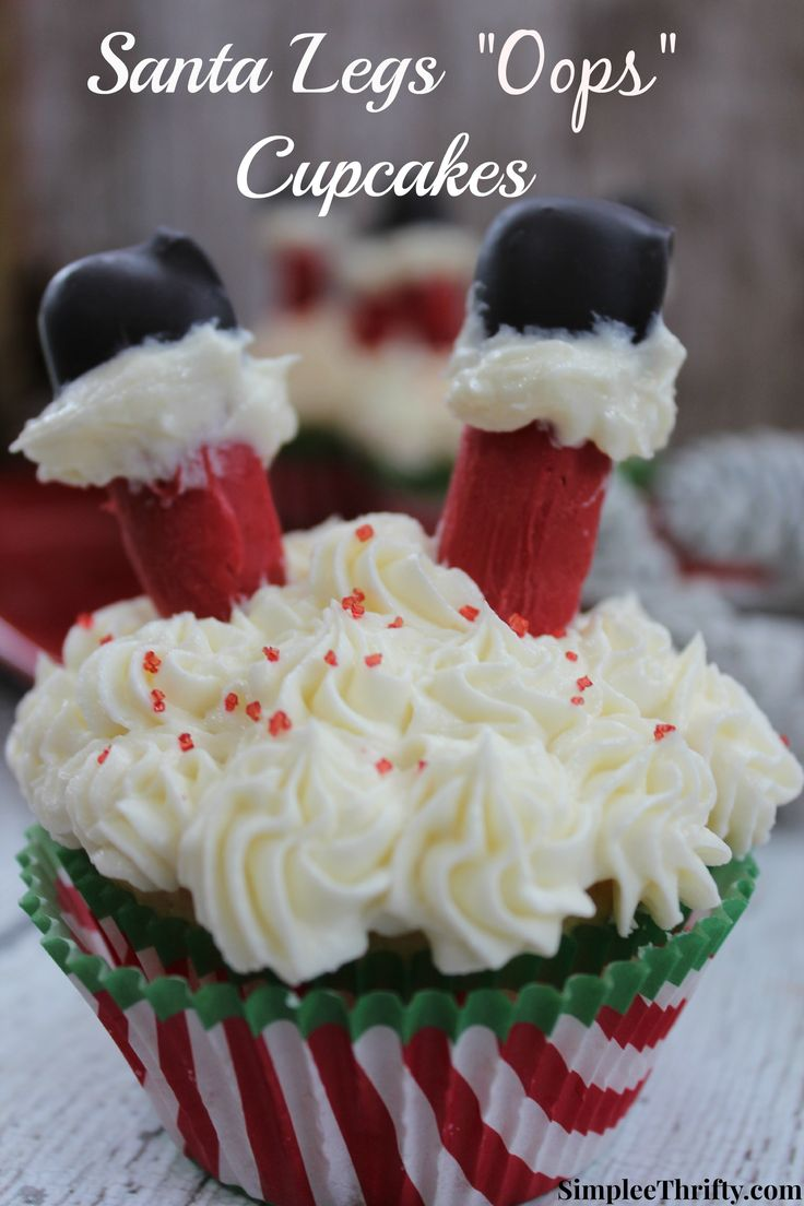 "Santa Legs ""Oops"" Cupcakes: The kids will love these! Have a little fun with these Santa Legs ""oops"" cupcakes. Make these just for fun at home with the kids or they would be a big hit at your Holiday Party!"