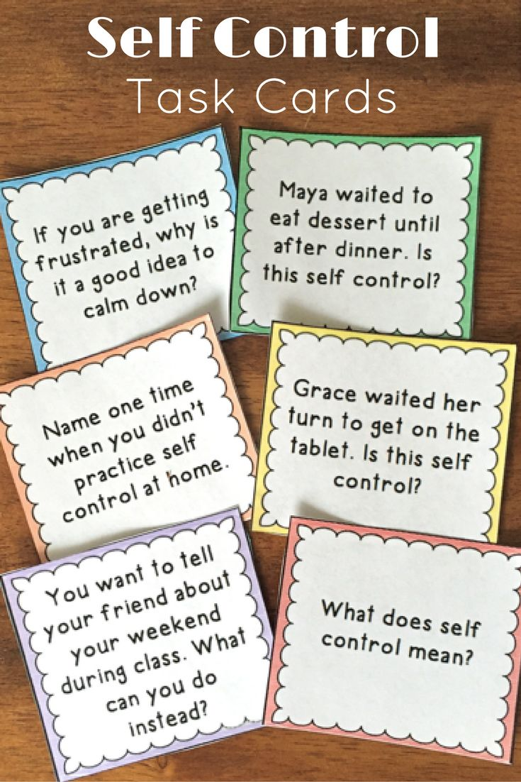 Self Control Task Cards: 48 cards to teach students about self control and how to use it.