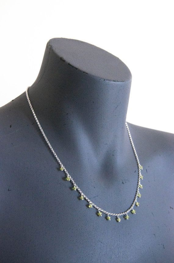 Peridot Dew Drop- Necklace in silver chain with fine peridot - White Apple Gifts