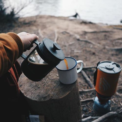 Camp coffee - enjoying your daily pick me up in the wild. #coffee #warmerdrink