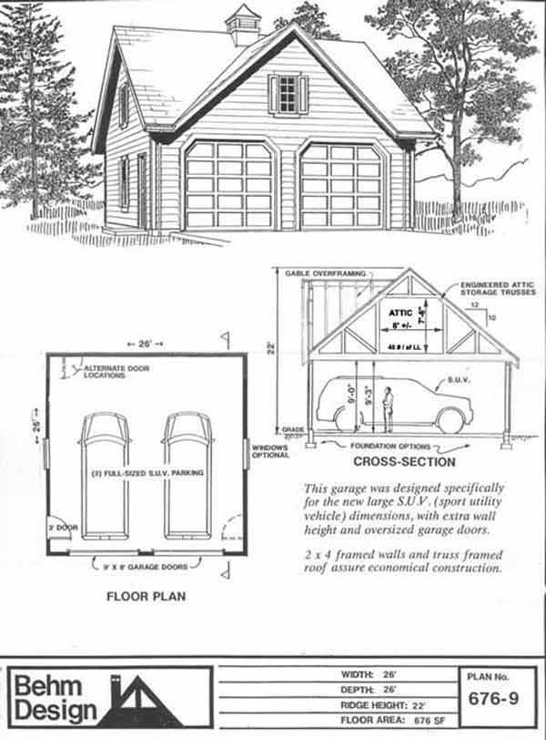 Colonial criss gable style suv sized two car garage with for Gable garage plans