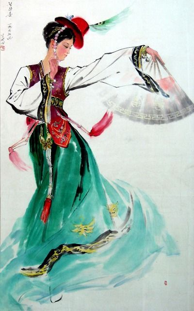 (North Korea) Korean traditional Jaenggang Dance 1995 by Kim Myeong-il. Korean brush watercolor painting. 쟁강춤.