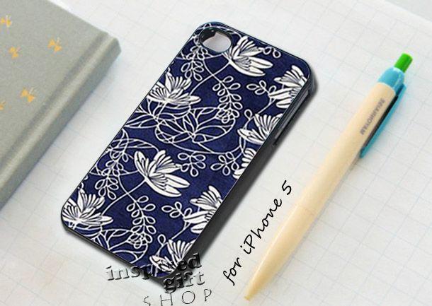 blue floral flower - design case for iPhone