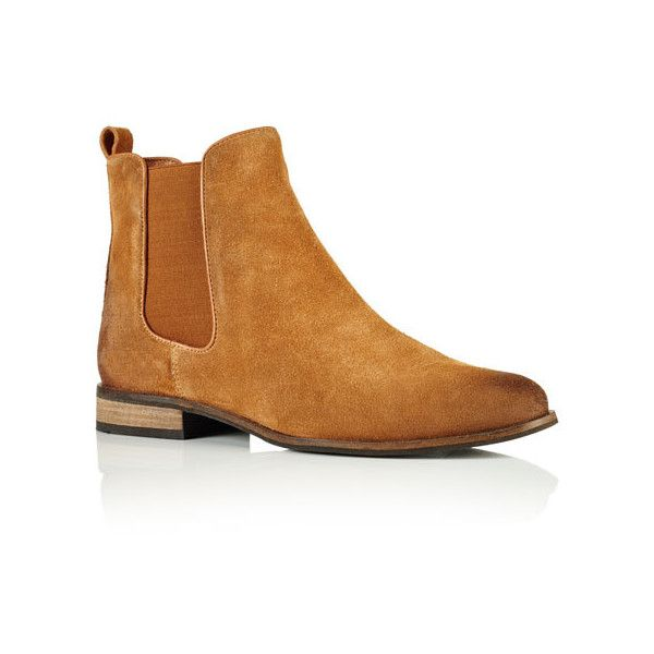 Superdry Millie Suede Chelsea Boots (8395 RSD) ❤ liked on Polyvore featuring shoes, boots, ankle booties, brown, brown booties, superdry, elastic boots, suede booties and suede beatle boots