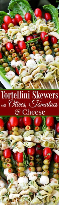 Tortellini Skewers with Olives Tomatoes and Cheese - Fun appetizer plate with cheesy tortellini, flavorful manzanilla olives, grape tomatoes and fresh mozzarella cheese threaded on skewers. Perfect party food!