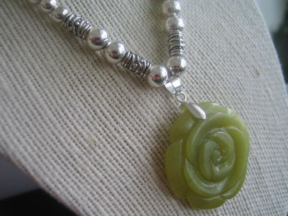 Olive green stone flower pendant with silver by LeeliaDesigns, $10.00