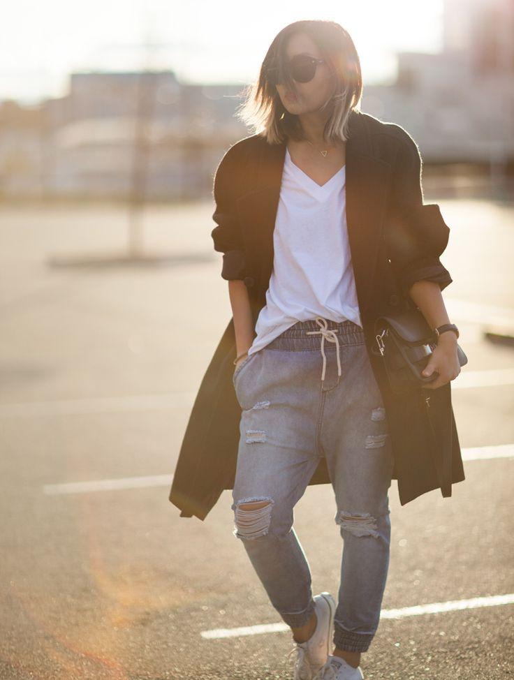 ღlechic | Oversized Coat + Distressed Drop Crotch Jeans + White Converse