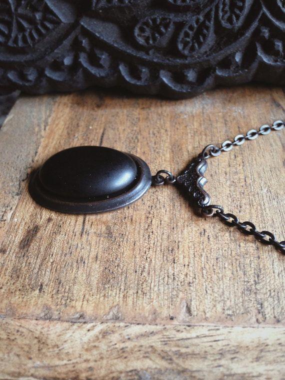 Black Onyx Ornate Brass Necklace  Victorian by KRUELINTENTIONS