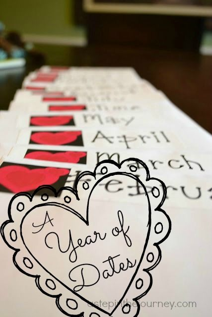 Valentine Gift Bag Idea  Instead of celebrating your love just once a year on Feb 14th, why not make the 14th of each month a special date night?!!!