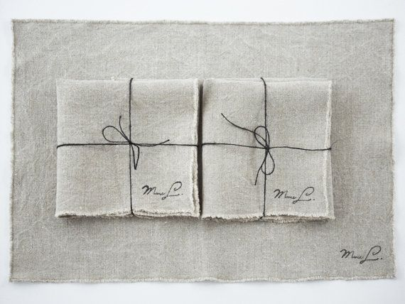 Natural Linen Placemat Washed Linen Set of 2 by MadameLampiere