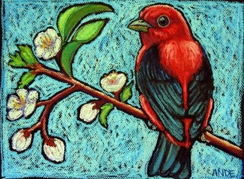 """Daily Paintworks - """"Scarlet Tanager on Apricot Bra..."""" by Ande Hall"""