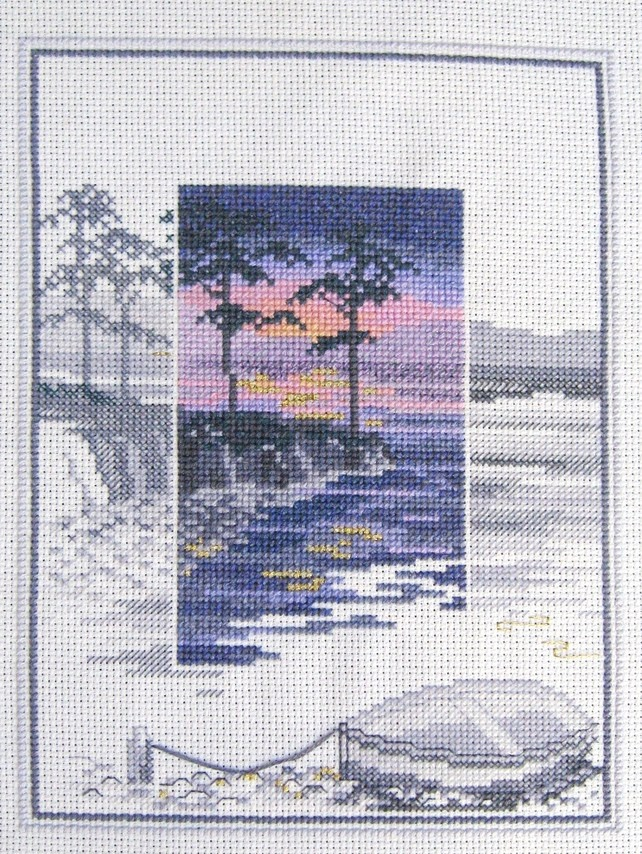 Finished Cross-stitch Sunset on the Coast in Blues, Pinks, Purples & Blacks £65.00