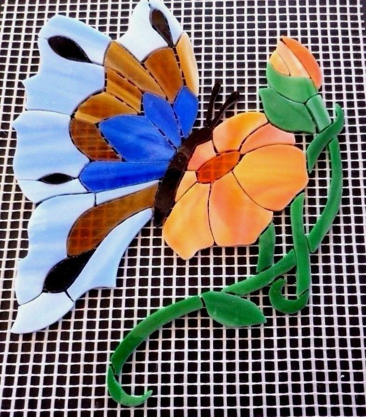 Precut Stained Glass Mosaic Inlay Kit BUTTERFLY W FLOWER Stepping Stone Birdbath…