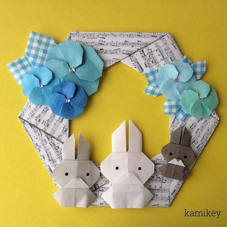 """青い椿もなかなか新鮮⁈「六角リース」「椿」「うさぎ」の作り方はYouTube"""" kamikey origami""""チャンネルをご覧下さい。  Hexagonal wreath Camellia Bunny designed by me Tutorial on YouTube"""" kamikey origami"""" #折り紙#origami #ハンドメイド#kamikey"""