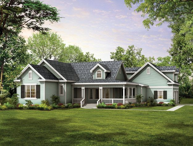 gables, dormers, and an old-fashioned covered porch create a