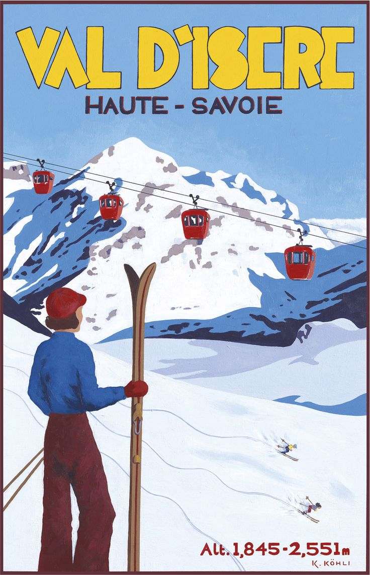 PEL123: 'Val D'Isere: Alpine View' - by Katrine Kohli - Vintage travel posters - Winter Sports posters - Art Deco - Pullman Editions