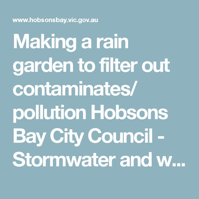Making a rain garden to filter out contaminates/ pollution          Hobsons Bay City Council -         Stormwater and waterways