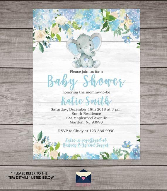 Rústico Elefante Bebé Ducha Invitaciones Para Un Niño Shiplap Etsy Invitaciones De Baby Shower De Varón Plantillas De Invitación Para Baby Shower Invitaciones
