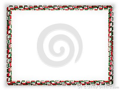 Frame and border of ribbon with the Mexico flag, edging from the golden rope. 3d illustration.