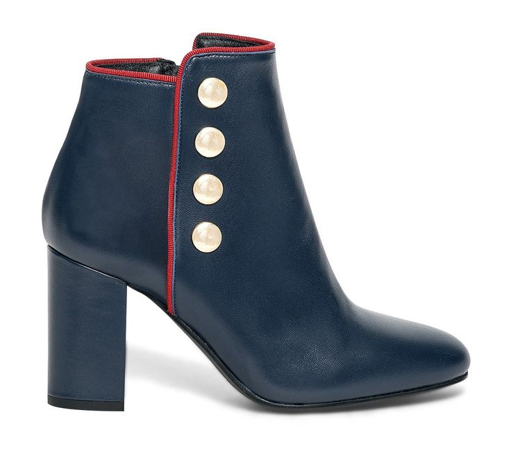 Boots cuir marine à boutons - Boots / bottines - Chaussures femme