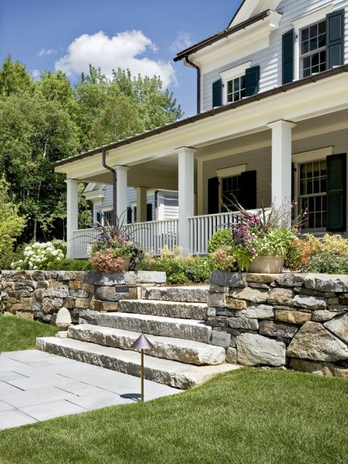 landscapeStones Step, Ideas, Front Porches Design, Stones Wall,  Terraces, Dreams House, Front Yards, Crisps Architects, Retaining Wall