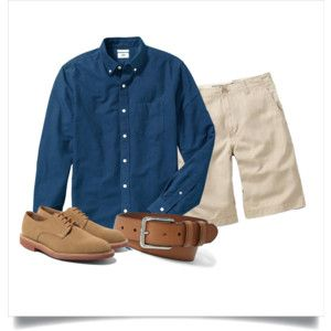 Polyvore: Navy OCBD, stone shorts, tan leather belt, tan suede oxfords.