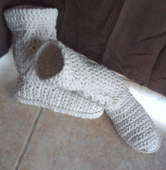 BOXING WEEK!!!!! 30% OFF EVERYTHING IN MY SHOP!!!!!  COUPON CODE IS BOXING  SLIPPER BOOTS Womens CABLE crochet cotton by DOVIESlovingKNITS, $45.00