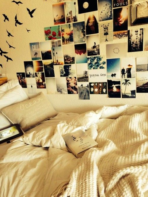 room bedroom inspiration Wall DIY posters photos decor polaroids tumblr rooms room ideas wall collage