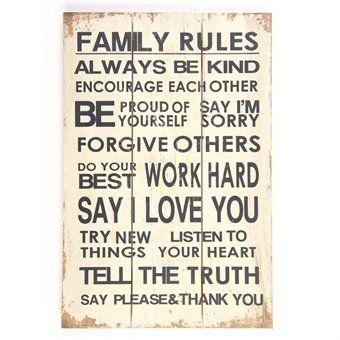 """Homestreet Signs - Cartello o insegna in legno da appendere """"Family rules"""" con regole di famiglia [in lingua inglese], 30 x 45 cm"""