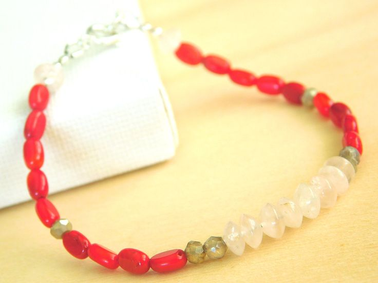 Rose Quartz Bracelet, Red Coral and Labradorite Bracelet, Stacking Bracelet, Beaded Bracelet by jljewellerydesign on Etsy