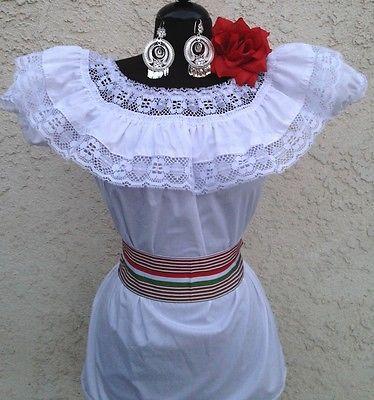 Mexican Whte Adelita Blouse On/Off Shoulder w/small Sash. Blusa Adelita Mexicana