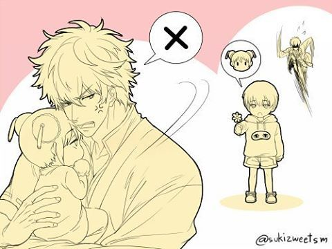 """""""Gin-Chan.. He was going to give me something."""" She pouted as she was being held by Gintoki. She was going to accept the flower but Gintoki had stopped and carried her refusing. ▪ #okikagu #gintoki #hijikata #sakatagintoki #sakata #gintokisakata #hijikatatoshiro #toshirohijikata #toshiro #okita #kagura #sougo #yato #yatokagura #okitasougo #sougookita #kagurayato #gintama"""