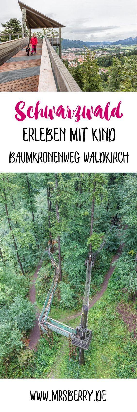 Schwarzwald erleben mit Kind: auf dem Baumkronenweg in Waldkirch - via MrsBerry.de | Der Naturerlebnispark Waldkirch wird oft nur als Baumkronenweg bezeichnet, doch wird dort weitaus mehr geboten:  über den Sinnesweg geht es bergauf und oben warten Baumkronenweg, Abenteuerpfad, Barfußpfad und Riesenröhrenrutsche.