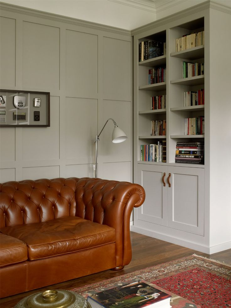 Soft mushroom-grey. Colour to walls and to furniture - enhances feeling of space.