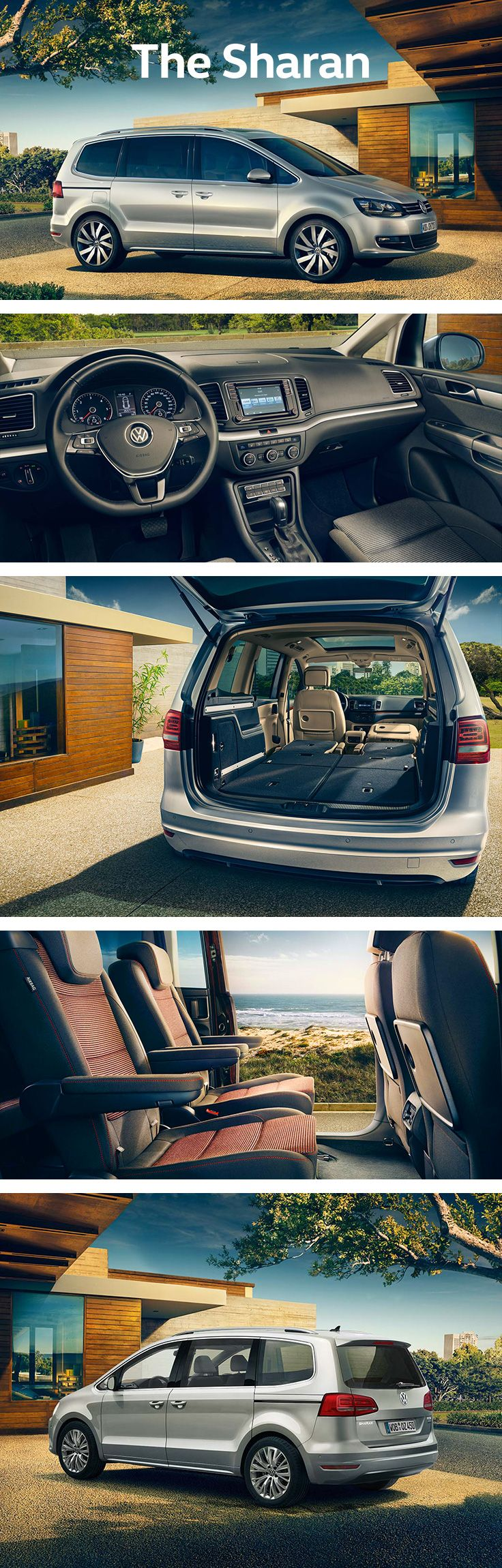 This family van has plenty of space: the up to seven seats can be flexibly positioned to gain an interior volume ranging between 300 and 2,430 litres. Thanks to the optional electric sliding doors, loading and unloading items as well as getting in and out of the Volkswagen Sharan is more comfortable and convenient. The EasyFold function comes as standard and enables the second row of seats or optional third row to be easily folded down for creating a larger loading space.