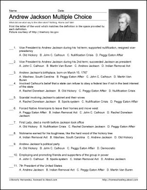 Andrew Jackson Worksheets and Coloring Pages: Andrew Jackson Challenge Worksheet