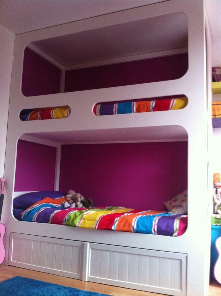 Girls room , homemade bunk beds, rainbow